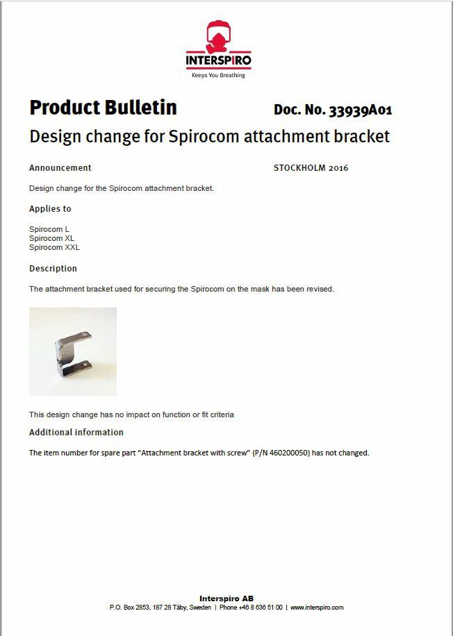 2016 - Product bulletin 33939